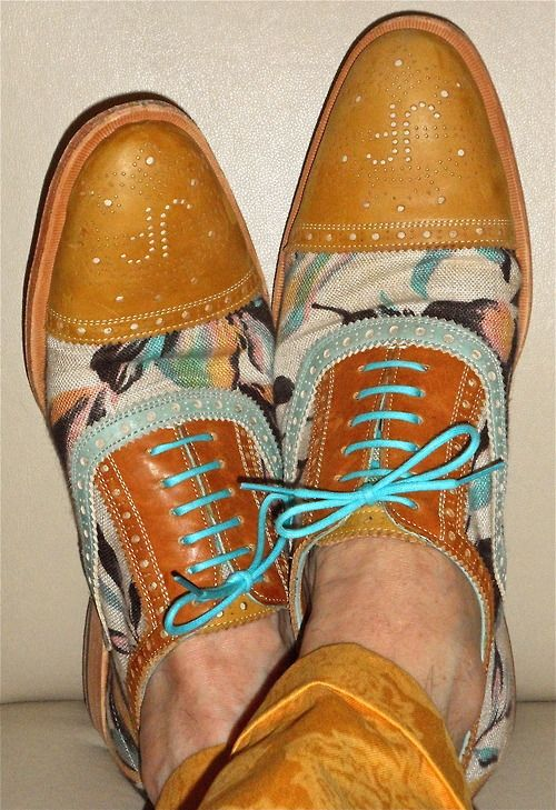 I gots me these: John Fluevog leather & canvas shoes - they turn heads