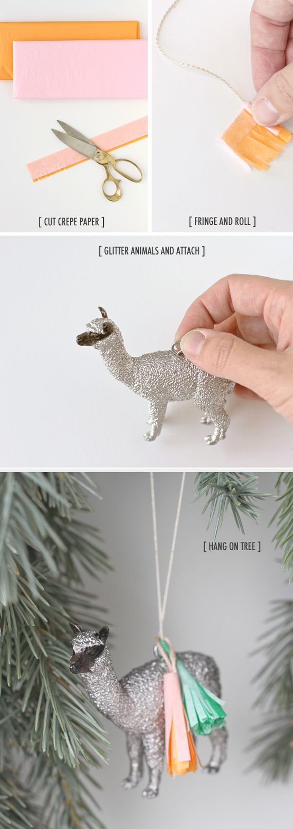 Glitter llama, glitter llama, glitter llama! (sorry, we're just really excited about #DIY glitter llama ornaments)