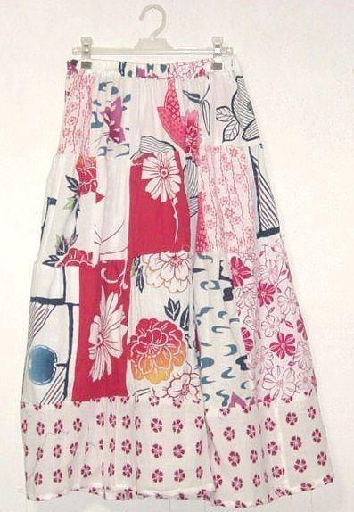 可愛色浴衣パッチティアードスカート*浴衣リメイク - SonaSona着物リメイク