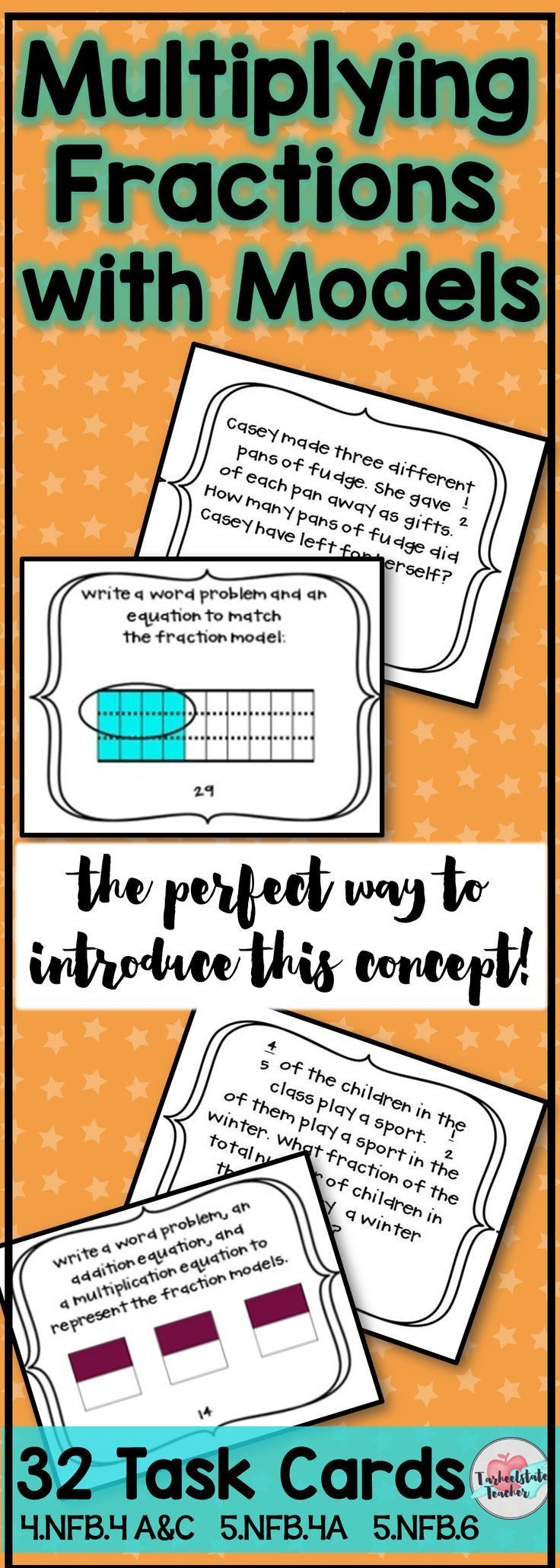 """Multiplying fractions task cards are perfect for your first lessons introducing the concept to 4th and 5th grade  students. Students learn to think of multiplying fractions in terms of """"repeated addition,"""" multiplying a fraction by a fraction, and a fraction by a whole number. Create visual models of word problems by coloring fraction models and writing word problems to match a model. Use for review or to deepen students' understanding. Print as worksheets or as task cards. Common Core…"""