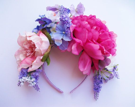 Pink Blue Oversized Peony Hydrangea Lavender Sweet Pea Flower Crown - floral headband, floral crown, floral wreath, fascinator, festival