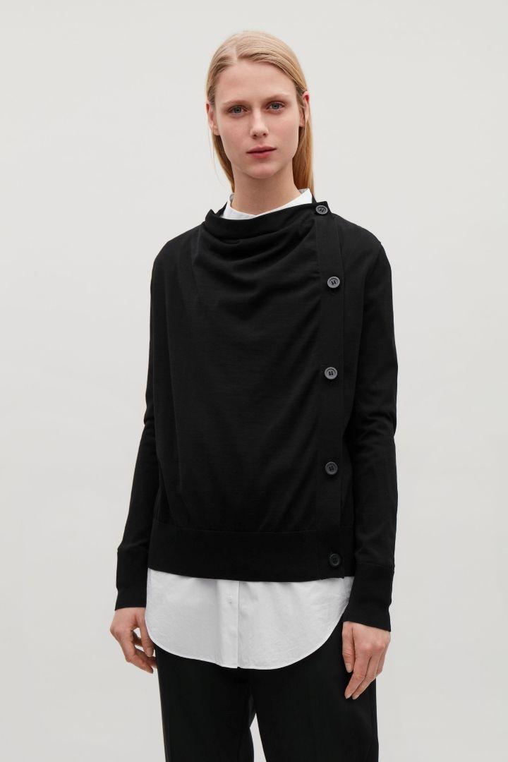 01bb9f545e64 COS   Draped cotton cardigan   COS wishlist   Cotton cardigan, Black ...