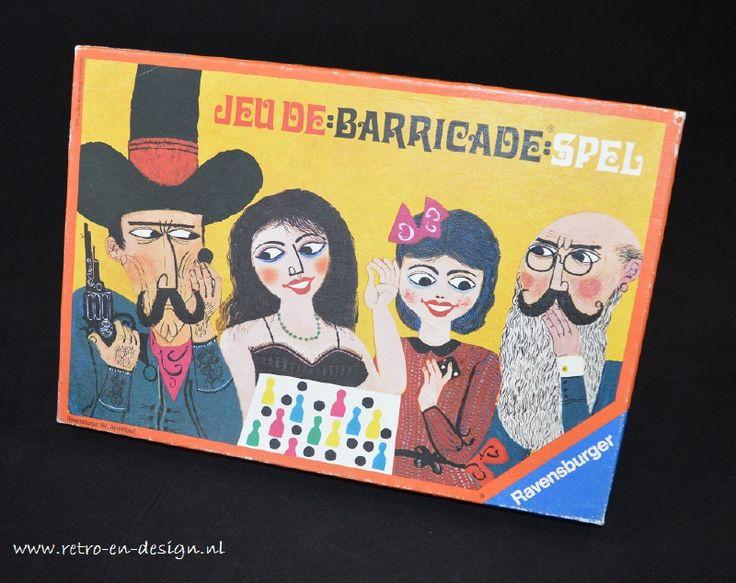 Barricade bordspel  Een bordspel met eenvoudige spelregels voor 2 tot 4 spelers, een variant op mens-erger-je-niet. Het is een spel van aanval en verdediging, dus strategie maar ook geluk speelt een rol door middel van dobbelstenen. zie: http://www.retro-en-design.nl/a-40977685/spelen/barricade-bordspel/