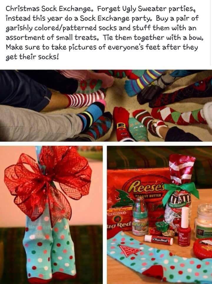 Christmas grab bag, secret Santa, white elephant idea. Socks and goodies.