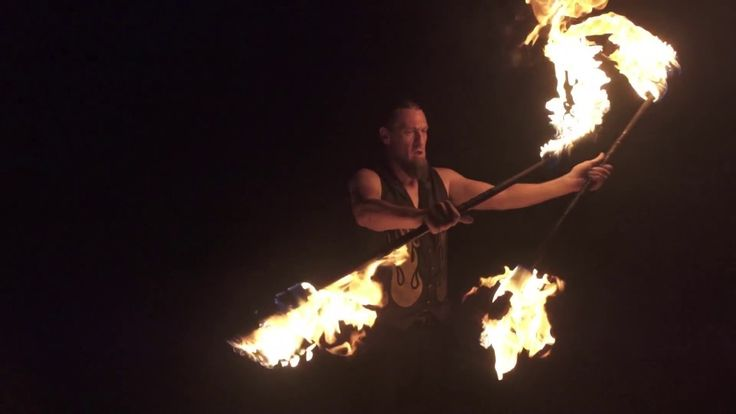 Fire Dancing & Fire Breathing - HD Slow motion 360 - Sounds of Silence