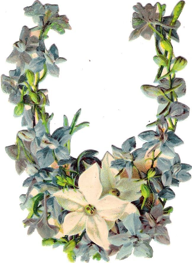 Oblaten Glanzbild scrap die cut  chromo Blume flower Hufeisen horseshoe