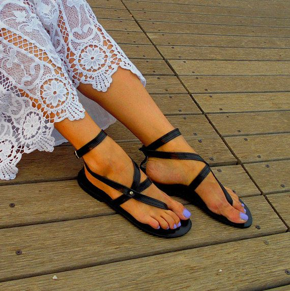 Black Sandals ''Nephele'', Black Leather Flats, Black Leather Sandals, Greek Strappy Sandals