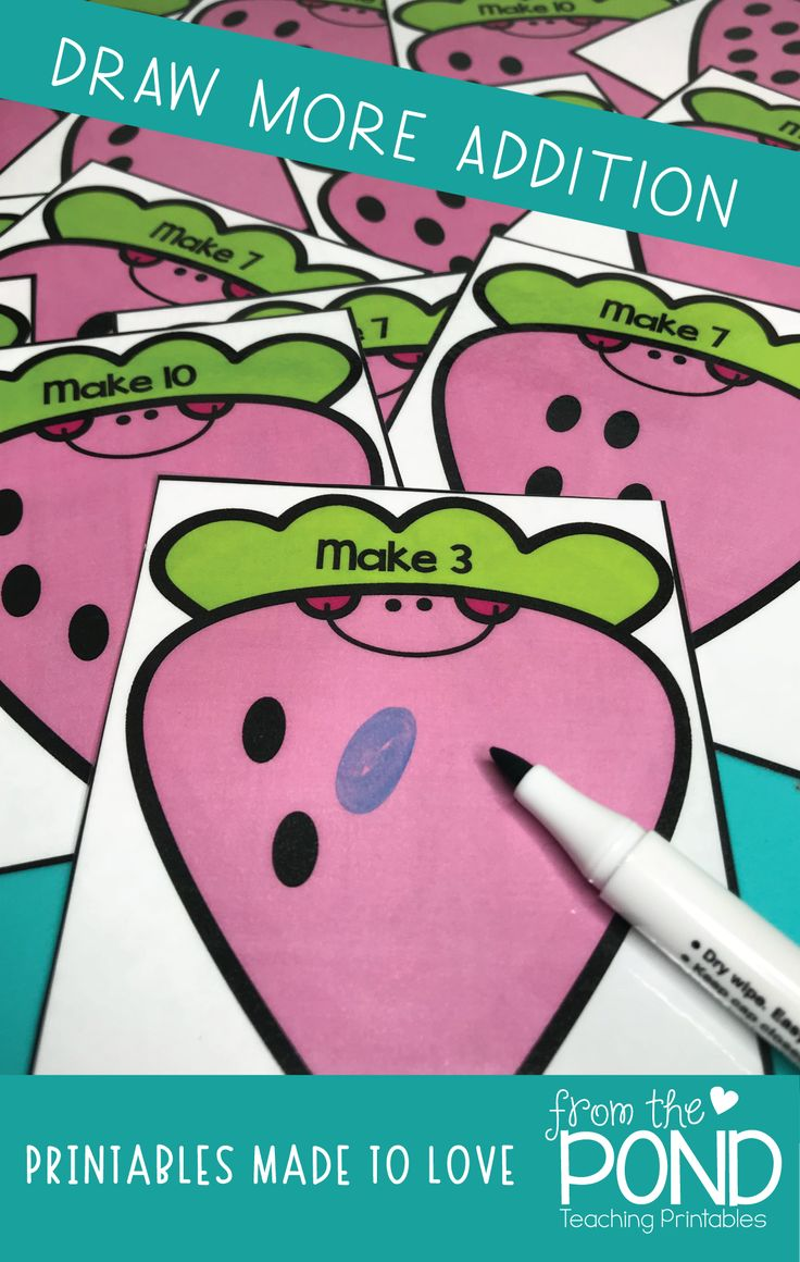 Fun addition activity cards for math centers and rotations - draw more to make total