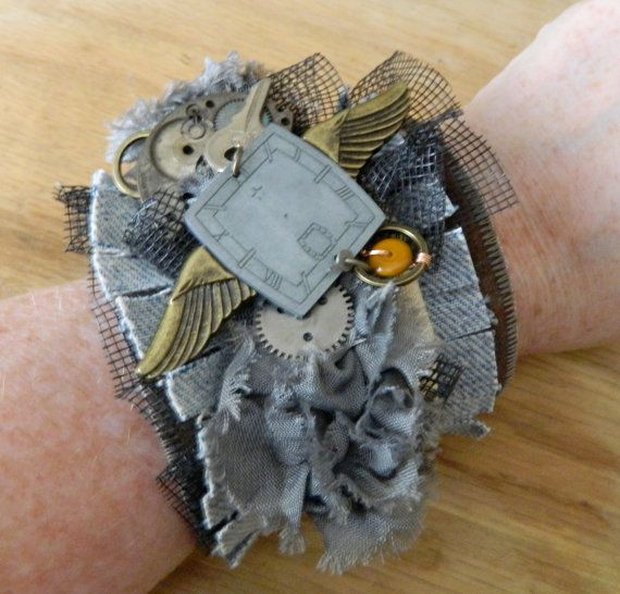Steam Punk Fiber Cuff  Denim and Watch Parts and by GraphicThreads, $45.00