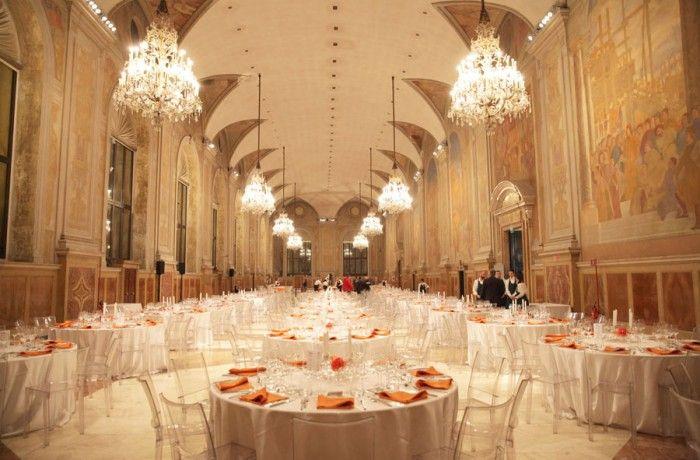 Salone del Podestà allestito per la cena della Convention