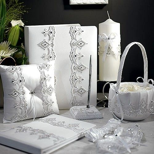 royal lace white satin wedding accessories set