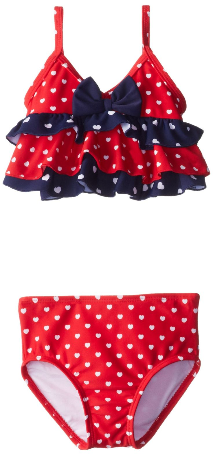 Hartstrings Little Girls' Girls' Heart Polka Dot Two Piece Bathing Suit, Heart Print, 2T