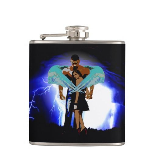 Angel Man Protecting Woman From Storm Flask - This design features an angel man protecting a woman from the storm with his wings.