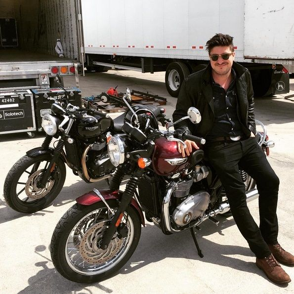 """"""" Marcus Mumford enjoying the all new T120 and Street Twin while on Tour here in the United States. """""""
