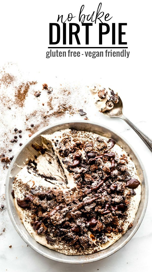"""A vegan friendly no bake dirt pie just got a """"Healthy-ish"""" upgrade! This EASY no bake dessert made with GLUTEN FREE AND VEGAN FRIENDLY  """"Oreo"""" type cookies, coconut cream, dates, dark chocolate, and more. Plus it has the perfect 3 ingredient no bake dark chocolate crust to go with it. Healthier than the classic, but just as tasty!"""