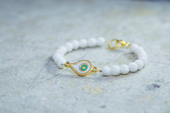 Yoga Women's Bracelet Beaded Bracelet White Lava by MindTheGrace