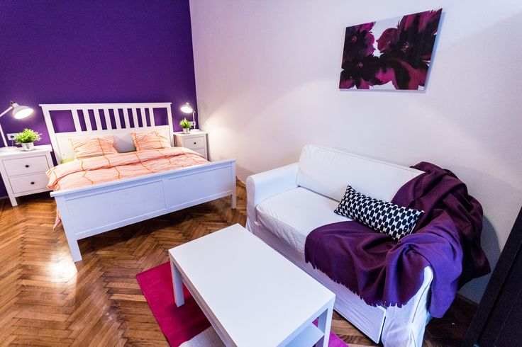 Purple wall, white furniture bedroom / Budapest downtown apartment renovated and furnished by www.towerassistance.com