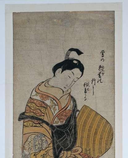 Jongeman gekleed als komuso (bedelmonnik), Okumura Masanobu, , 1740 - 1745 - Japanse prenten met Inro-Verzameld werk van hilda - Alle Rijksstudio's - Rijksstudio - Rijksmuseum