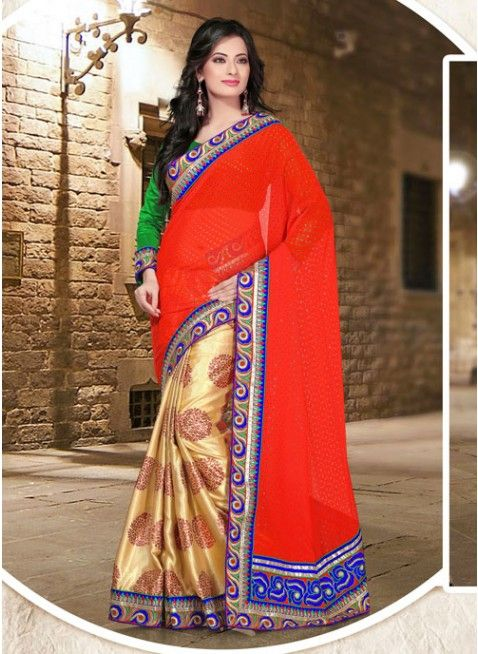 Chic Gold Color & Red Embroidered #Saree With Resham Work