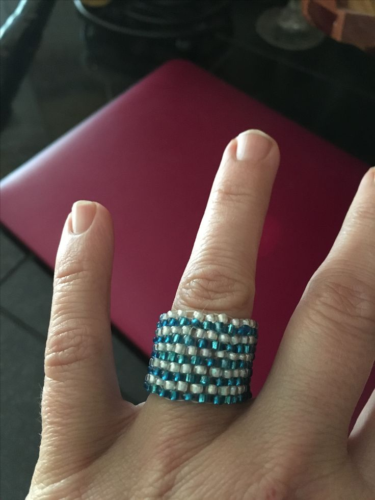 Mermaid blue and white ring