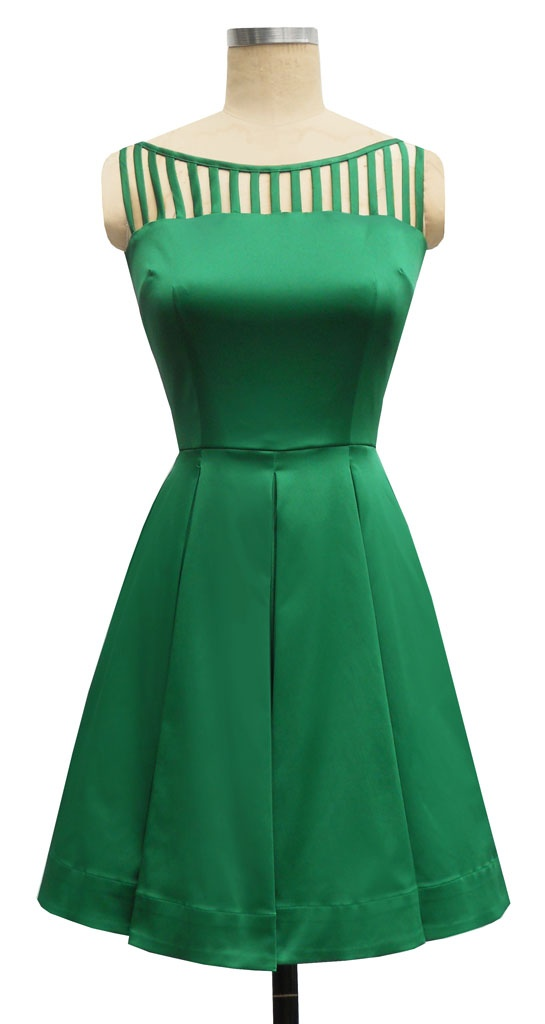 50s inspired cocktail dress trashy diva cage dress in green strech cotton blend satin
