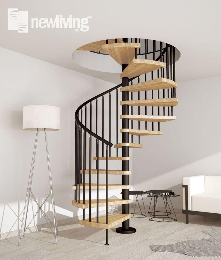 Scala a chiocciola in ferro verniciato e gradini in legno