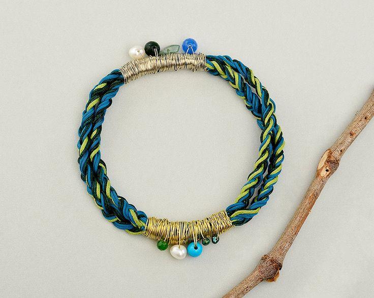 Macrame braided bracelet, green blue bangle, colorful bangle, custom cord bracelet, multicord bangle, blue petrol bracelet,stacking bracelet by ColorLatinoJewelry on Etsy