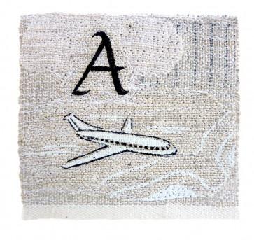 Aeroplane framed tea towel landscape in vintage tea towels by Jo Grant