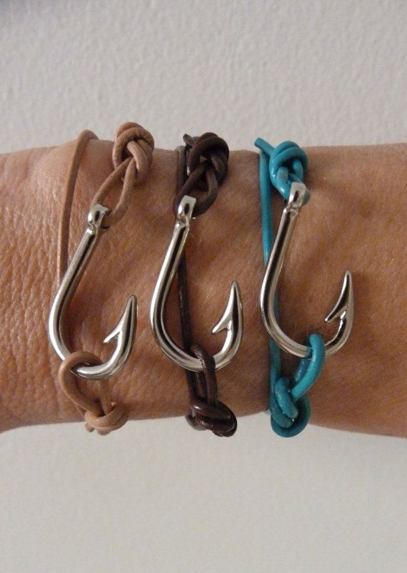 beachcomber leather fish hook bracelet - unisex nautical bracelet - men's leather bracelet