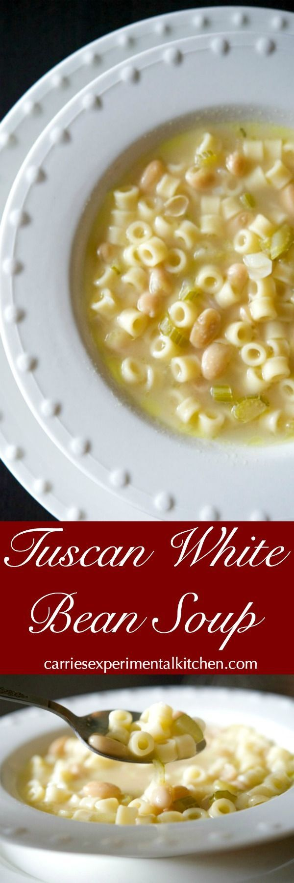 Tuscan White Bean Soup is a hearty, delicious Italian soup made with simple ingredients like celery, cannellini beans, Ditalini pasta and chicken broth.#soup via @CarriesExpKtchn