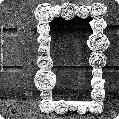 Newspaper rose frame...love this!