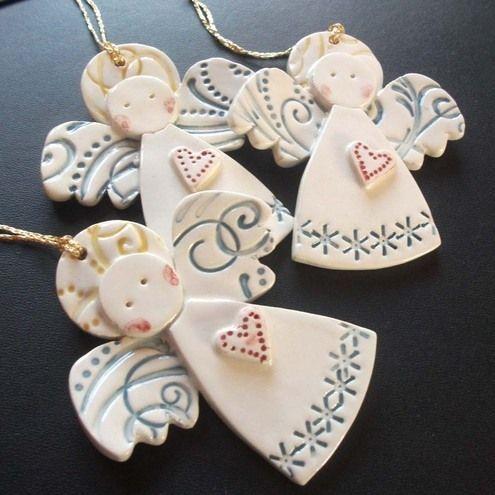562 best images about ceramic a n g e l s on pinterest - Angeles de navidad manualidades ...