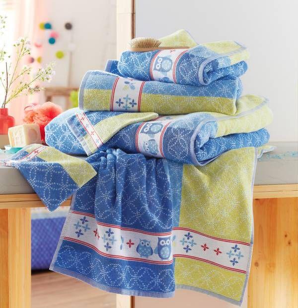 Des couleurs fraîches dans votre salle de bain ! Nouvelle collection exclusive Francoise Saget Chouette réveil. #salledebain #serviettesdebain #chouette