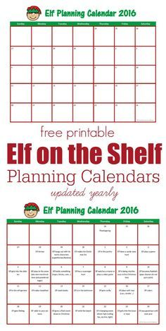 Free printable Elf on the Shelf planning calendars. Blank calendar for you to complete or calendar already filled in with great ideas for your elf. Updated yearly.