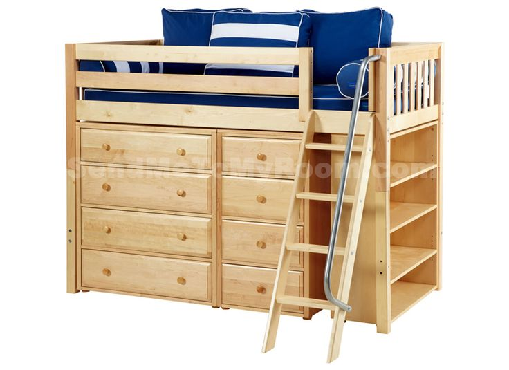 Kaching 2 Twin Mid Height Storage Loft Bed With Angled