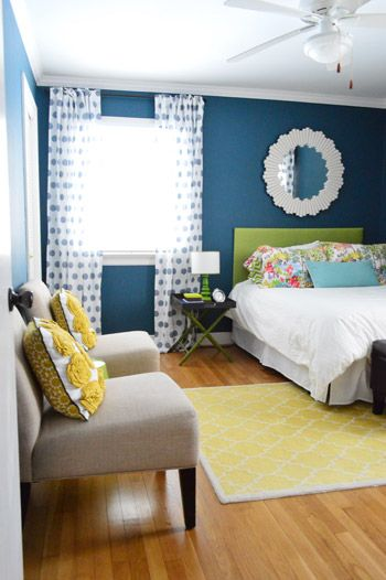 Colorful bedroom makeover (with before pics & project details)