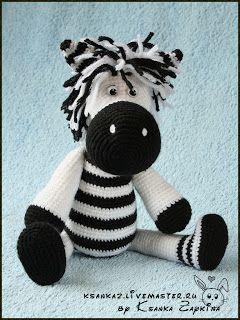"""Вязаные игрушки Зайкиной Ксюшки: Вязаная зебра """"Полосатый принт"""""""