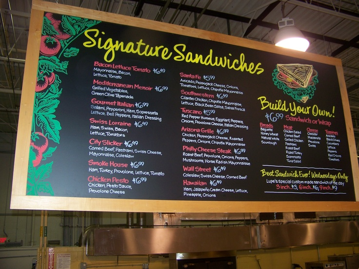 Hanging Sandwich Menu Chalk Art Sandwich Menu Cafe Menu