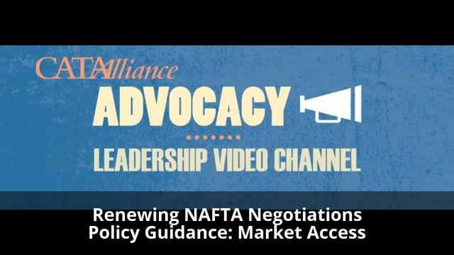 ++ Action Item: Complete the 2 Question NAFTA Guidance Survey:  https://goo.gl/forms/HpRGzQBQlwRLgzVh1    Background:    The Canadian government is consulting with key stakeholders on the renegotiation of the North American Free Trade Agreement (NAFTA) with the United States and Mexico. Market access and level playing field is one of the core public policy planks of CATA's competitive innovation nation campaign.    This Market Access Survey & Video interviews are being conducted to provide…