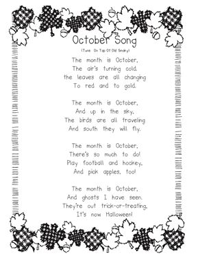 Use this song to bring up discussion about things that we see happening in October. Ideal for K-1 levels.