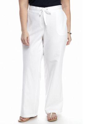 Kim Rogers Women's Plus Size Linen Beach Pants - White - 1X