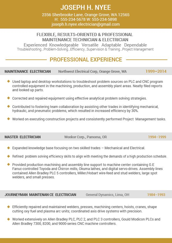 8 best WinWord resume templates images on Pinterest Resume - maintenance technician resume
