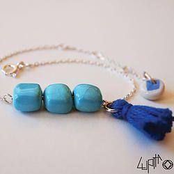 Bracelet PetiKaré Turquoise - pompon bleu