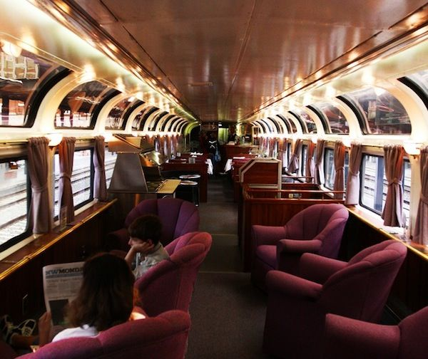 Parlor car on Amtrak's Coast Starlight--only available to first class sleeping car passengers--the ONLY way to fly!
