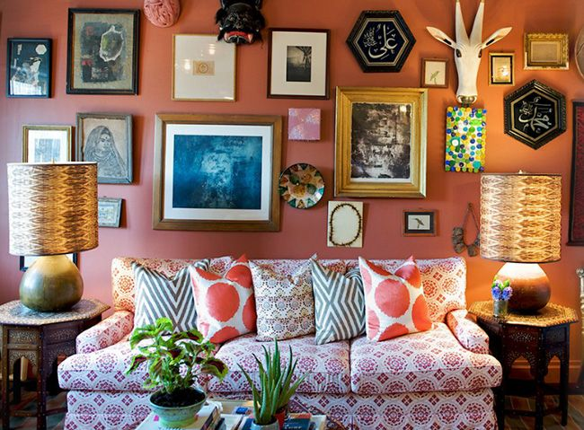 John Robshaw living room, eclectic style, gallery wall, mixed patterns, boho, global style, print sofa