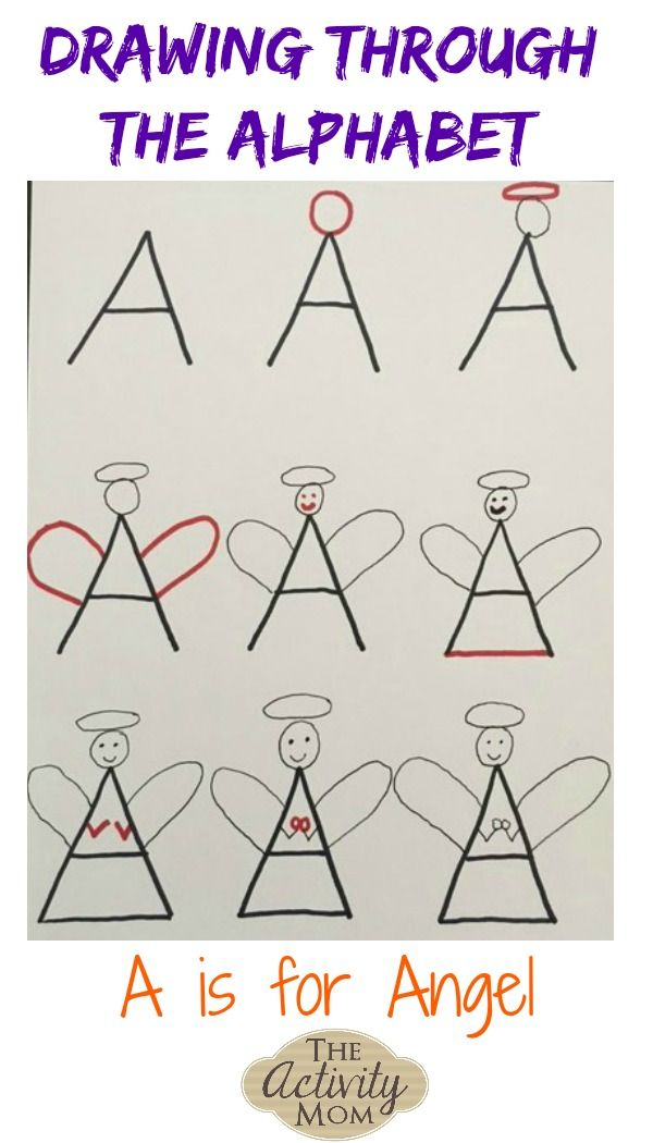 Drawing Through The Alphabet Letter A The Activity Mom Alphabet Drawing Lettering Alphabet Kindergarten Drawing