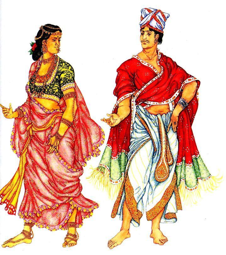 на женщине: сари, чоли (короткая кофточка) на мужчине: дхоти и накидка с бахромой, чалма