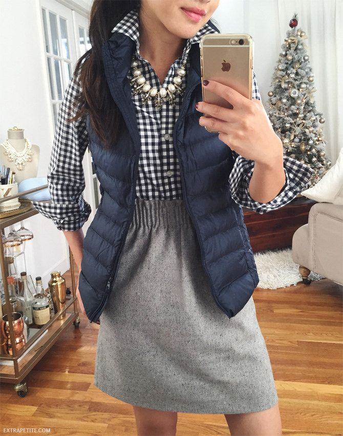 What a cute fall teaching outfit.  I love the skirt--would need something closer to my knees, but the waist of it is adorable with the gingham shirt.  maybe I would even wear a jacket vest.