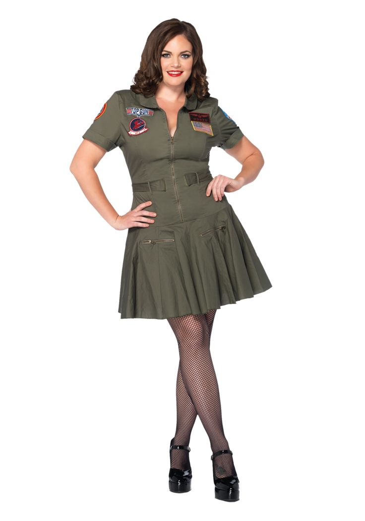 Fly at top speed when you wear this Plus Size Top Gun Flight Dress. If your favorite movie is Top Gun, then this is the costume for you!