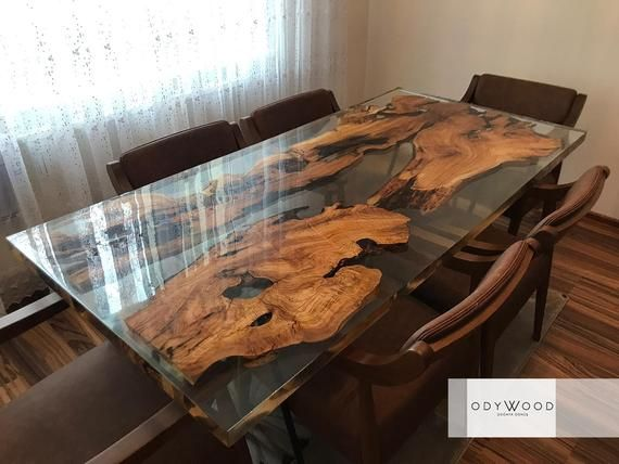Epoxy Resin Olive Wood Dining Table Image 2 Dining Table Wood